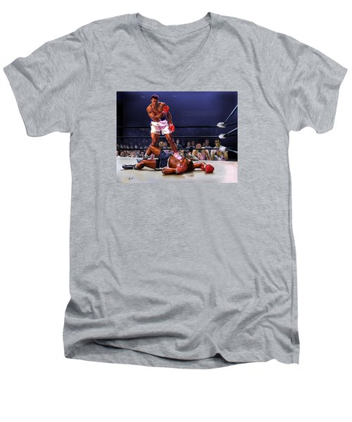 Cassius Clay Vs Sonny Liston Men's V-Neck T-Shirt