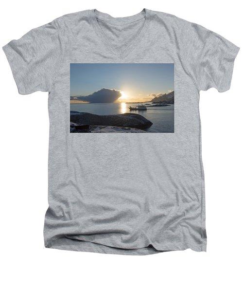 Cast A Giant Shadow... Reine Lofoten Men's V-Neck T-Shirt by Dubi Roman