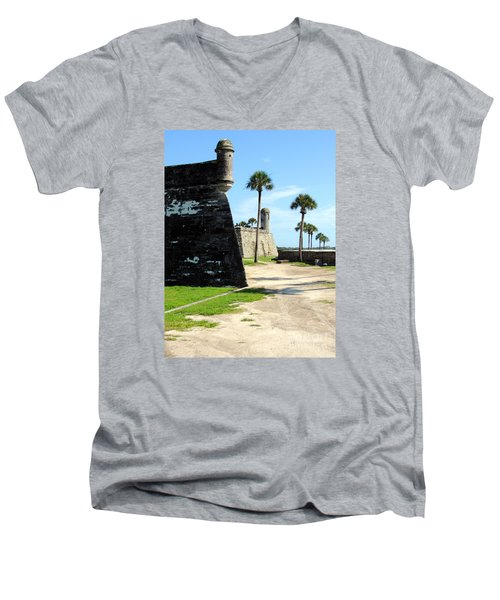 Men's V-Neck T-Shirt featuring the photograph Castillo De San Marcos St Augustine Florida by Bill Holkham