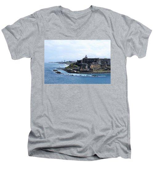 Castillo San Felipe Del Morro Men's V-Neck T-Shirt by Lois Lepisto