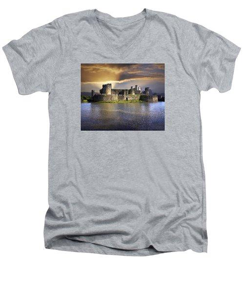 Castle At Dawn Men's V-Neck T-Shirt