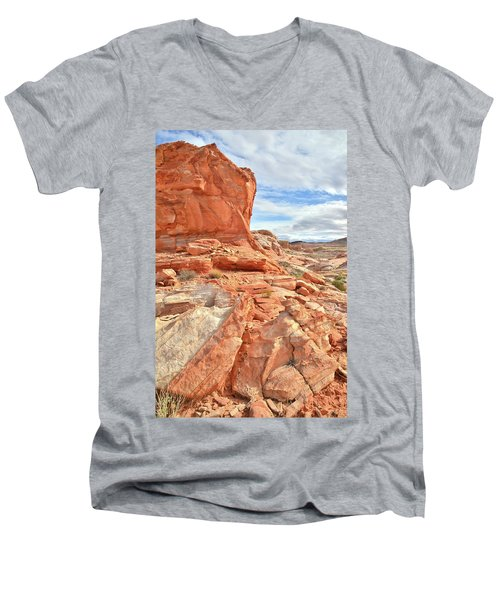 Castle High Above Wash 5 In Valley Of Fire Men's V-Neck T-Shirt by Ray Mathis