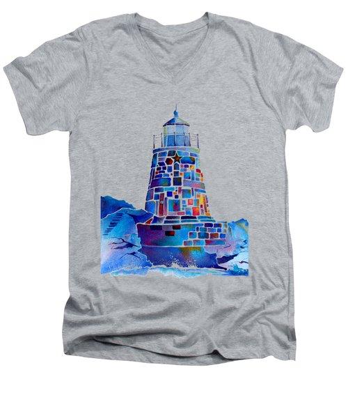 Castle Hill Newport Lighthouse Men's V-Neck T-Shirt