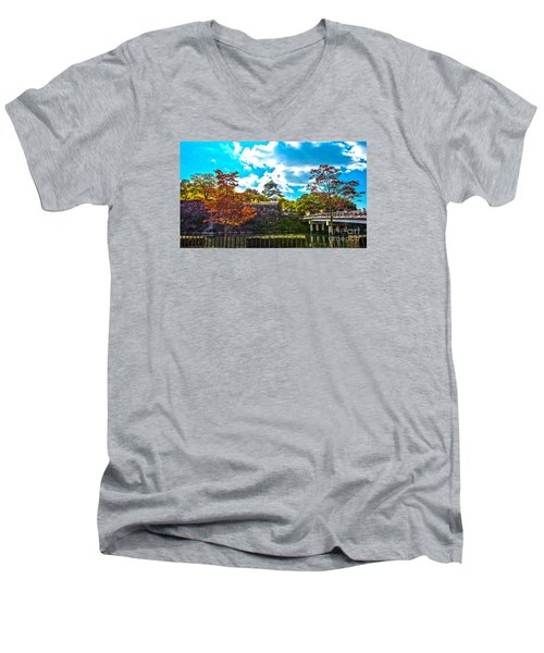 Men's V-Neck T-Shirt featuring the photograph Castle In Osaka by Pravine Chester