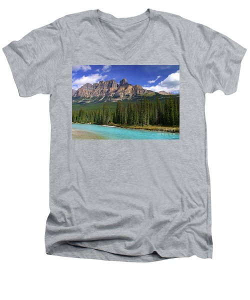Castle Mountain Banff The Canadian Rockies Men's V-Neck T-Shirt
