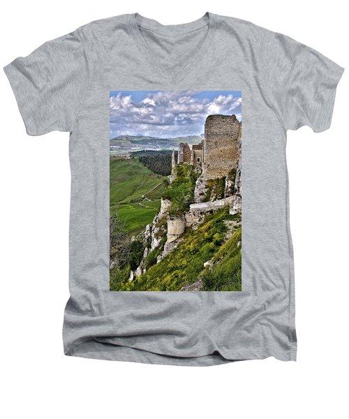 Castle Of Pietraperzia Men's V-Neck T-Shirt by Patrick Boening