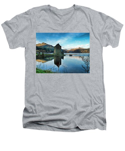 Castle On The Loch Men's V-Neck T-Shirt by Lynn Bolt