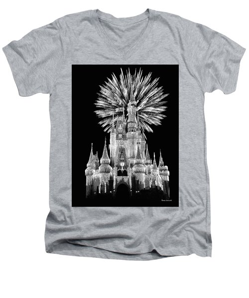 Castle With Fireworks In Black And White Walt Disney World Mp Men's V-Neck T-Shirt by Thomas Woolworth
