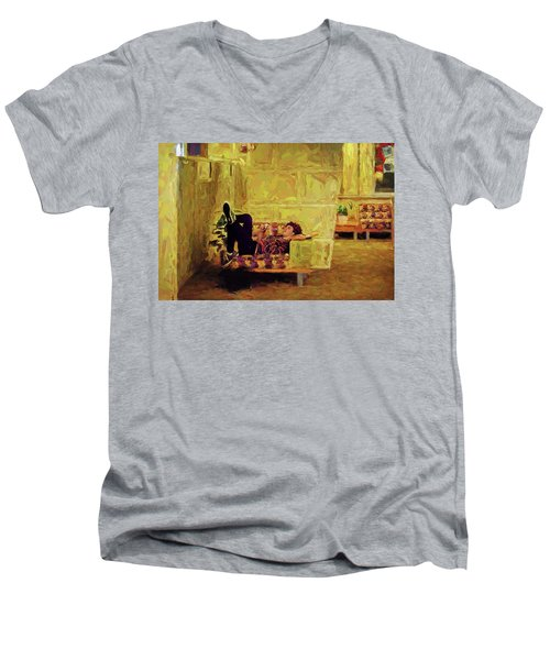 Men's V-Neck T-Shirt featuring the photograph Casual Student by Lewis Mann