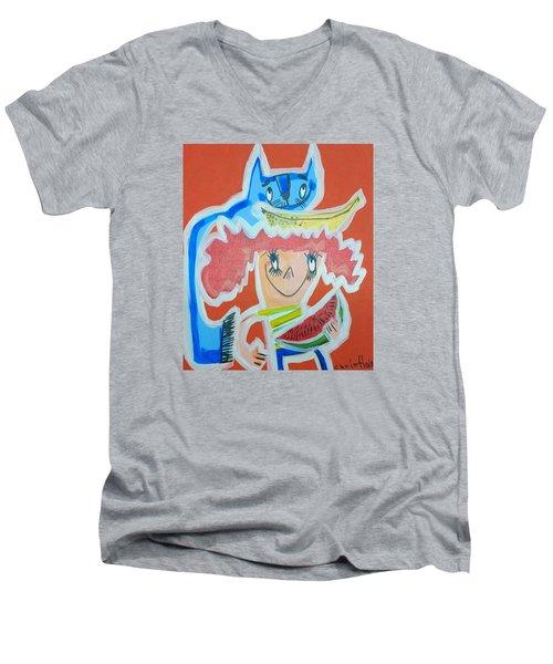 Cat And Girl Men's V-Neck T-Shirt