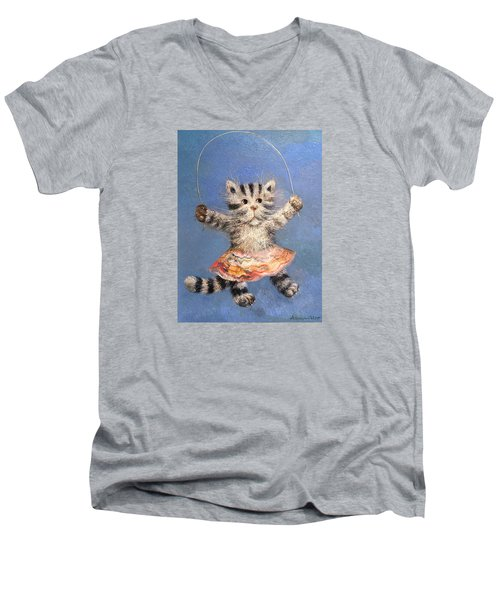 Cat And Skip Rope Men's V-Neck T-Shirt