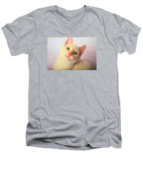 Cat Men's V-Neck T-Shirt by Andre Faubert