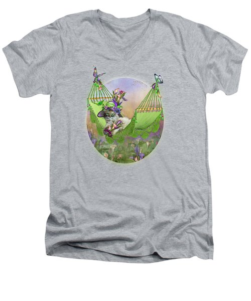 Men's V-Neck T-Shirt featuring the mixed media Cat In Calla Lily Hat by Carol Cavalaris