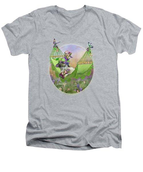 Cat In Calla Lily Hat Men's V-Neck T-Shirt