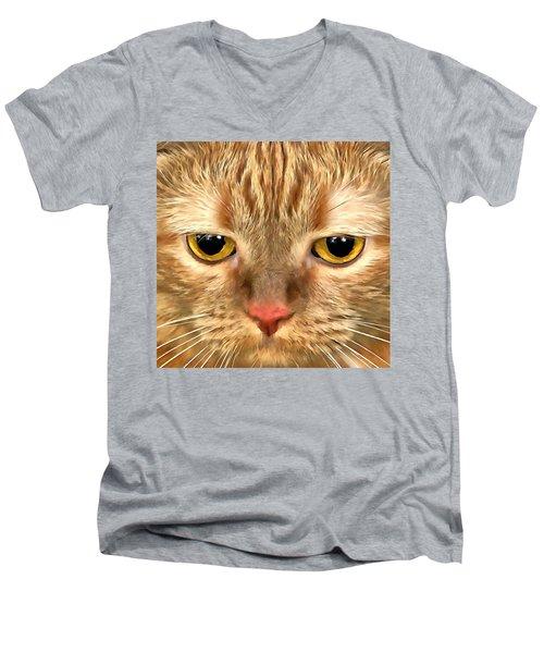 Cat Musya Men's V-Neck T-Shirt by Sergey Lukashin