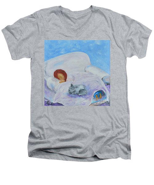 Men's V-Neck T-Shirt featuring the painting Cat Nap  by Reina Resto