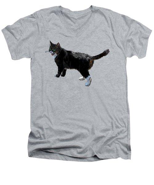 Cat Says Men's V-Neck T-Shirt