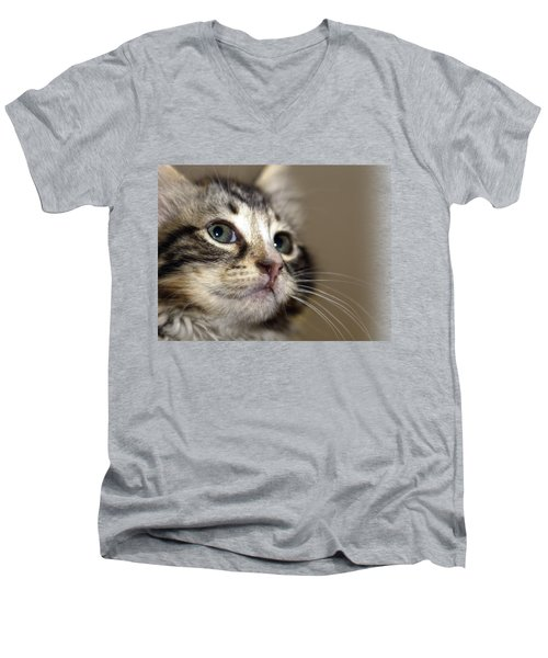 Cat T-shirt 2 Men's V-Neck T-Shirt by Isam Awad