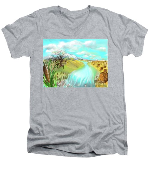 Catails Before The Fisherman Men's V-Neck T-Shirt