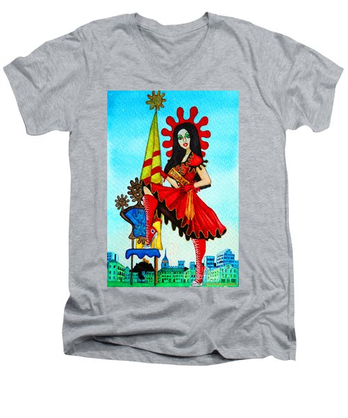 Men's V-Neck T-Shirt featuring the painting Catalan Girl In Converse by Don Pedro De Gracia