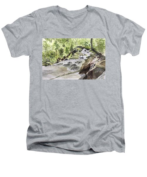 Catawba Falls - A Watercolor Sketch Men's V-Neck T-Shirt