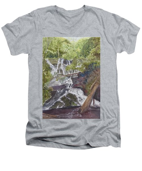 Men's V-Neck T-Shirt featuring the painting Catawba Falls - Working Notes by Joel Deutsch