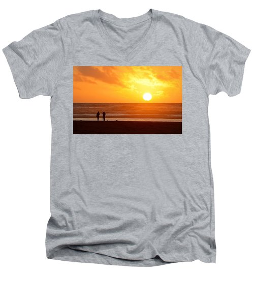 Men's V-Neck T-Shirt featuring the photograph Catching A Setting Sun by AJ Schibig
