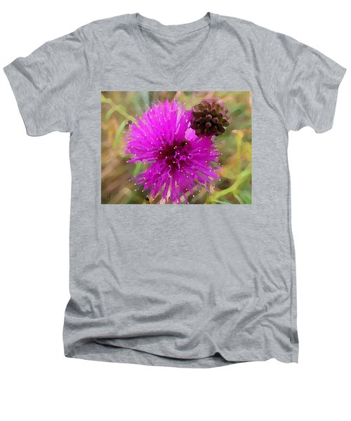 Catclaw Pink Mimosa  Men's V-Neck T-Shirt