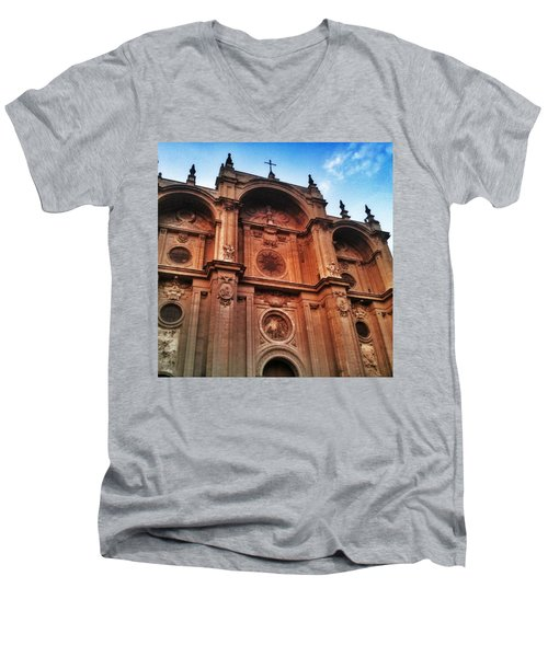 Catedral De #granada View From Plaza Men's V-Neck T-Shirt
