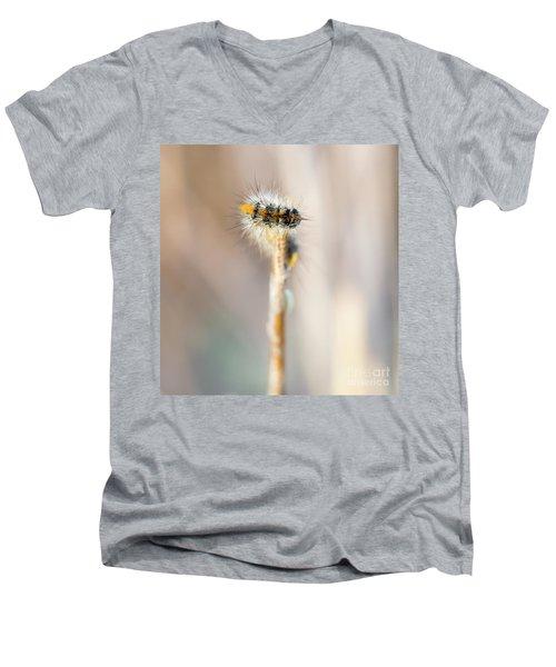 Caterpillar On The Stick Men's V-Neck T-Shirt by Gurgen Bakhshetsyan