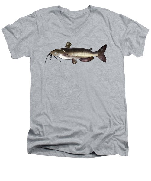 Catfish Drawing Men's V-Neck T-Shirt by A C
