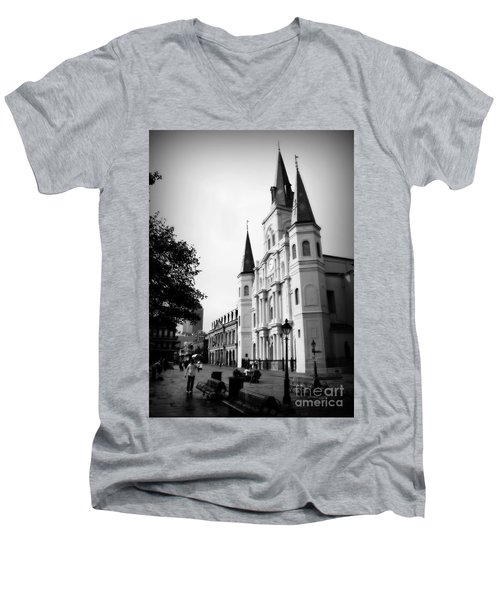 Cathedral Morning 2 Men's V-Neck T-Shirt by Perry Webster