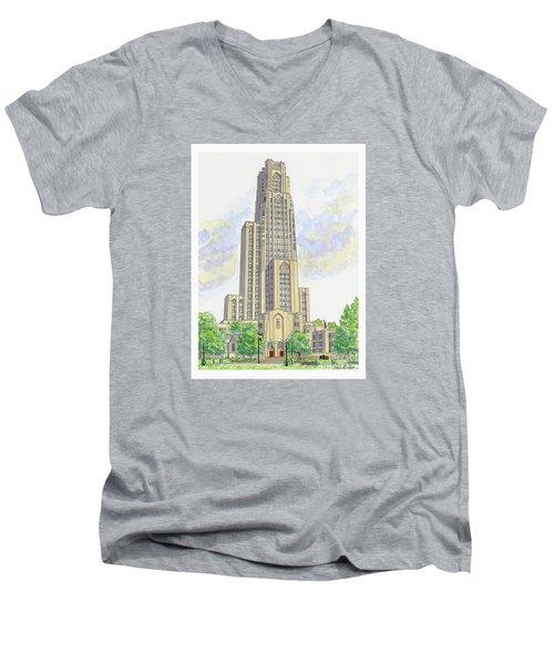Cathedral Of Learning Men's V-Neck T-Shirt by Val Miller