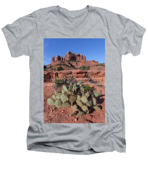 Cathedral Rock Cactus Grove Men's V-Neck T-Shirt