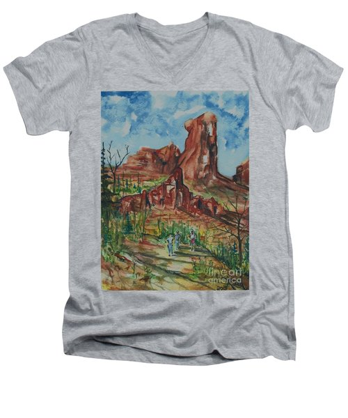 Hiking Cathedral Rock,  Sedona, Az. Men's V-Neck T-Shirt