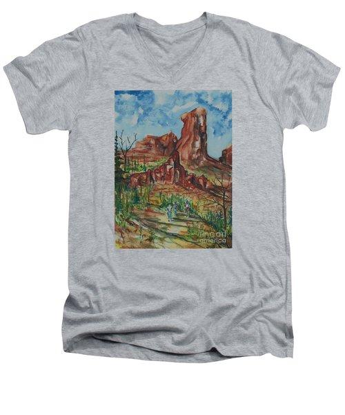 Hiking Cathedral Rock,  Sedona, Az. Men's V-Neck T-Shirt