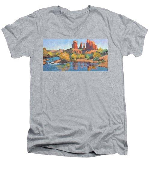 Moonrise Cathedral Rock Sedona Men's V-Neck T-Shirt