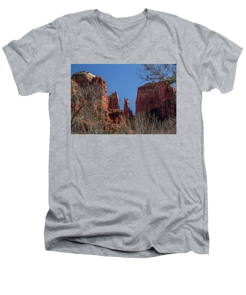 Cathedral Rock View Men's V-Neck T-Shirt by Roger Mullenhour