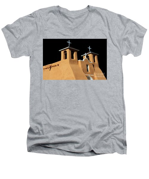 Men's V-Neck T-Shirt featuring the photograph St Francis De Assi Church  New Mexico by Bob Christopher