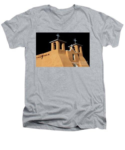 St Francis De Assi Church  New Mexico Men's V-Neck T-Shirt by Bob Christopher