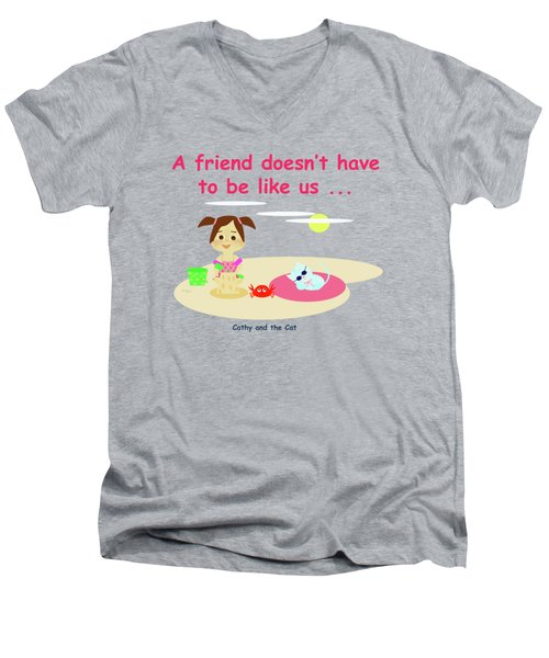 Cathy And The Cat Friends And Us Men's V-Neck T-Shirt