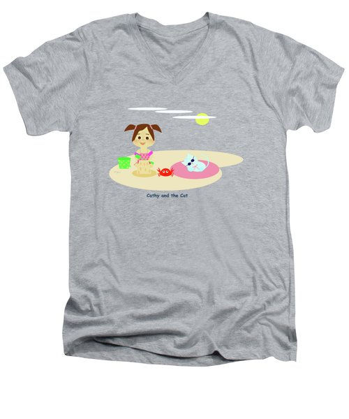 Cathy And The Cat Have A New Friend Men's V-Neck T-Shirt