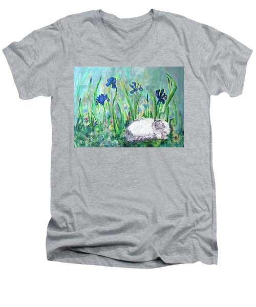 Catnap In The Garden Men's V-Neck T-Shirt
