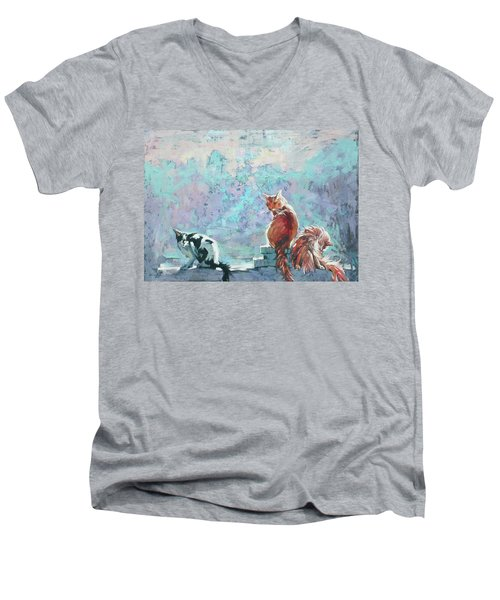 Men's V-Neck T-Shirt featuring the painting Cats. Washed By Rain by Anastasija Kraineva