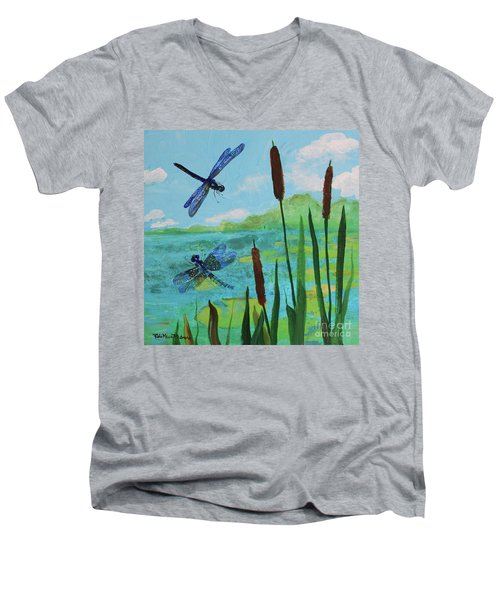 Cattails And Dragonflies Men's V-Neck T-Shirt
