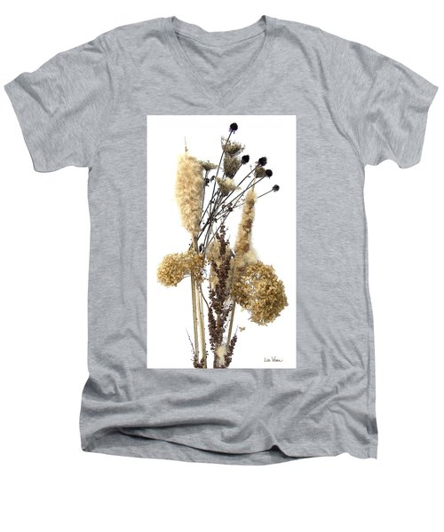 Cattails And November Flowers II Men's V-Neck T-Shirt by Lise Winne