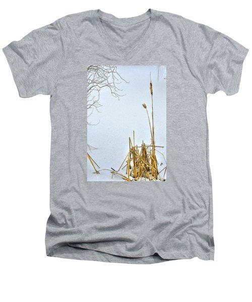 Cattails In Winter Men's V-Neck T-Shirt