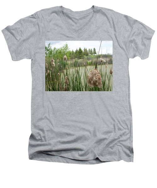 Men's V-Neck T-Shirt featuring the photograph Cattails by Mary Mikawoz