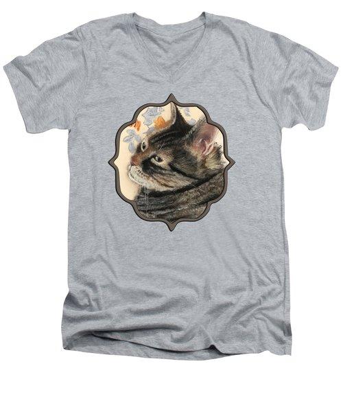 Men's V-Neck T-Shirt featuring the painting Cattitude by Anastasiya Malakhova