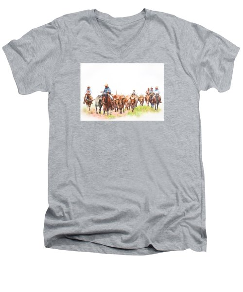 Cattle Drive Men's V-Neck T-Shirt by David and Carol Kelly